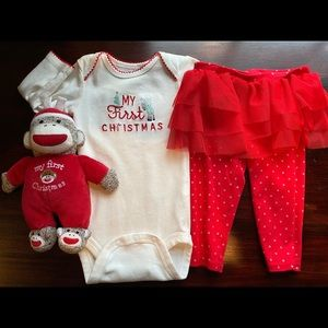 My first Christmas outfit (3-6 mo) and rattle